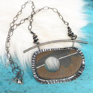 Sterling Chunky Bezel Set Drilled Stone Necklace
